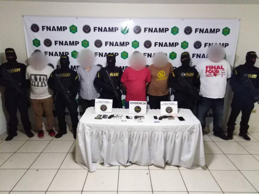 Cinco presuntos sicarios captura la FNAMP en Tegucigalpa
