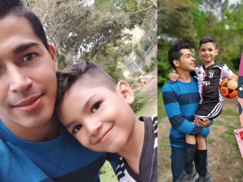 Luis Fernando, un joven padre quien con su hijo hace también el papel de madre